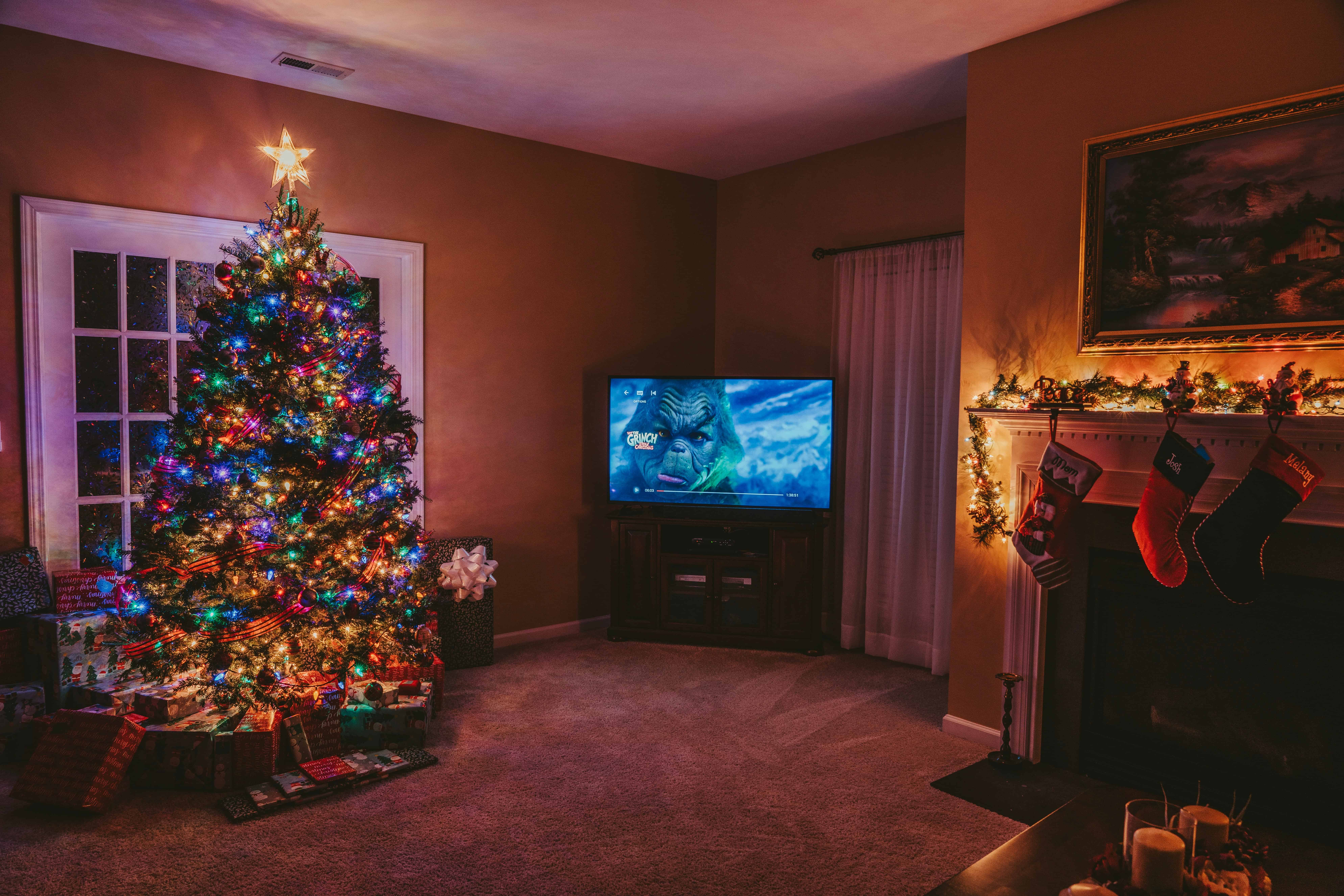 Christmas movies in living room